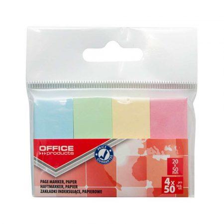 sprzęt biurowy 4 alibiuro.pl Zakładki indeksujące OFFICE PRODUCTS papier 20x50mm 4x50 kart. zawieszka mix kolorów pastel 23