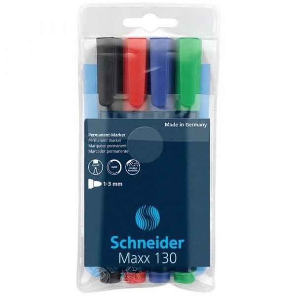 sprzęt biurowy 4 alibiuro.pl Zestaw markerów uniwersalnych SCHNEIDER Maxx 130 1 3mm 4 szt. miks kolorów 80