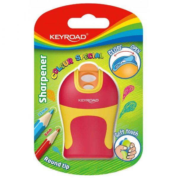 strugaczka 4 alibiuro.pl Temperówka KEYROAD Soft Touch plastikowa podwójna ostrzenie zaokrąglone blister mix kolorów 21