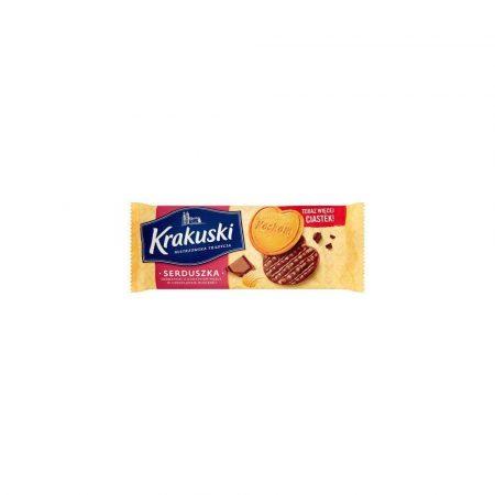 wafelki 1 alibiuro.pl Ciastka serduszka w czekoladzie 171g Krakuski 44