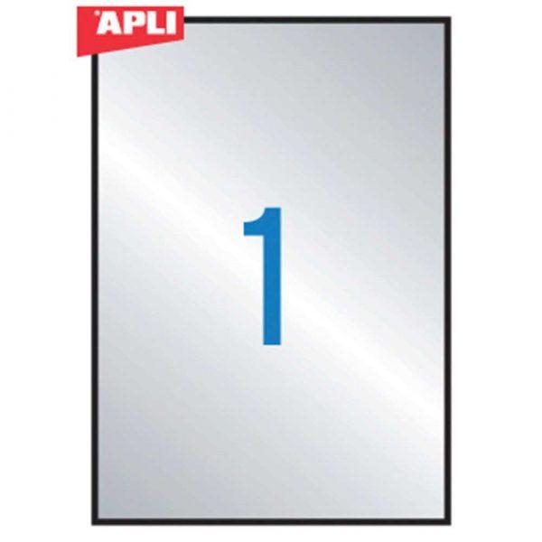 zakładka indeksująca 4 alibiuro.pl Etykiety poliestrowe APLI 210x297mm prostokątne srebrne 20 ark. 80
