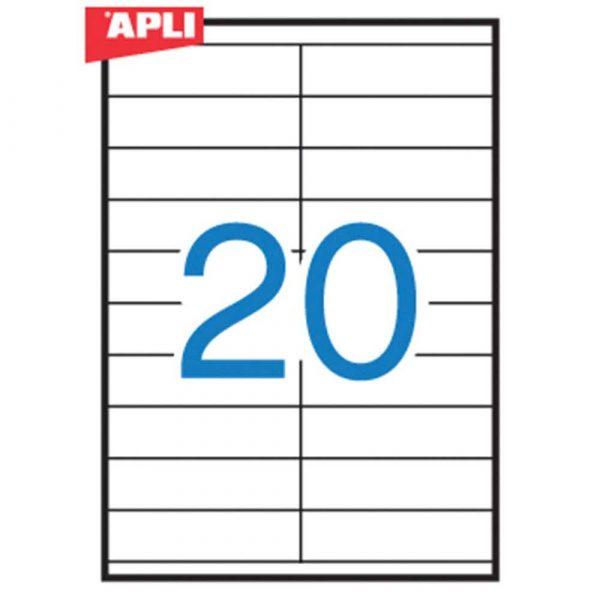 zakładka indeksująca 4 alibiuro.pl Etykiety uniwersalne APLI 105x29mm prostokątne białe 100 ark. 22