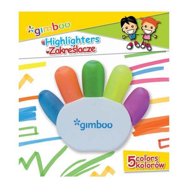 zakreślacz biurowy 4 alibiuro.pl Zakreślacz GIMBOO w kształcie rączki blister mix kolorów 27