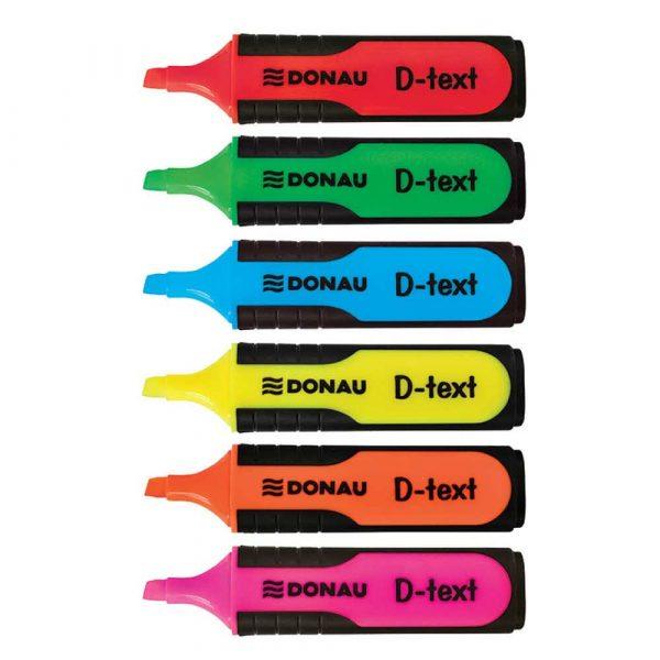 zakreślacz biurowy 4 alibiuro.pl Zakreślacz fluorescencyjny DONAU D Text 1 5mm linia 6szt. mix kolorów 33