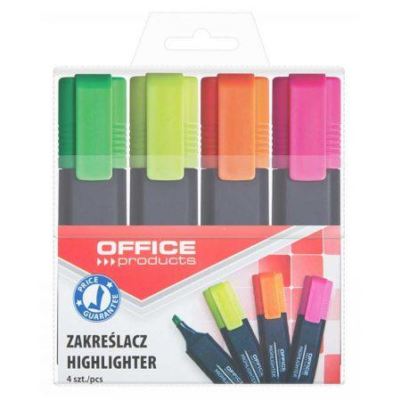 zakreślacz biurowy 4 alibiuro.pl Zakreślacz fluorescencyjny OFFICE PRODUCTS 1 5mm linia 4szt. mix kolorów 71