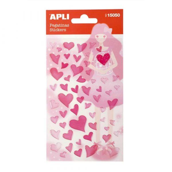 zestaw kreatywny 4 alibiuro.pl Naklejki APLI Hearts z brokatem różowe 57