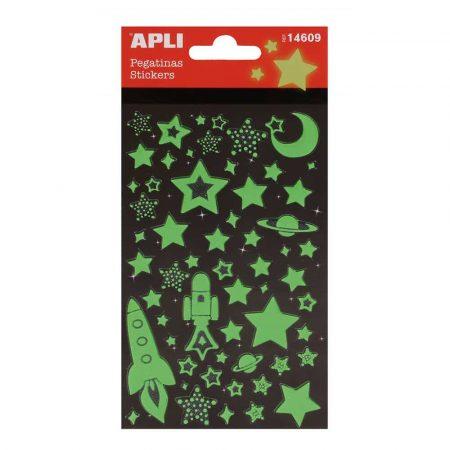 zestaw kreatywny 4 alibiuro.pl Naklejki APLI Stars świecące w nocy zielone 59