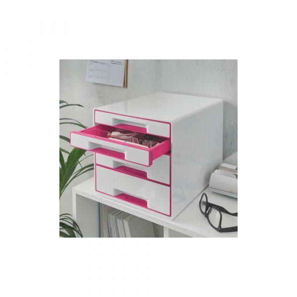 akcesoria biurowe 5 alibiuro.pl Pojemnik z szufladami Leitz WOW CUBE różowy 11