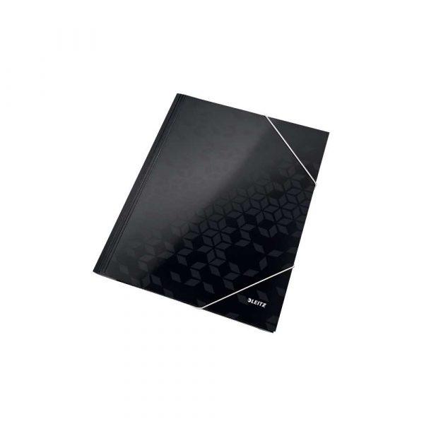 akcesoria biurowe 5 alibiuro.pl Teczka z gumką Leitz WOW 15 mm z kartonu czarny 26