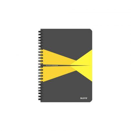 artykuły papiernicze 5 alibiuro.pl Kołonotatnik Leitz Office A5 w kratkę z okładką PP żółty 97