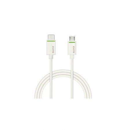 kable 5 alibiuro.pl Kabel Leitz Complete USB C na Micro USB 2.0 do ładowania urządzeń i przenoszenia danych 1m biały 72
