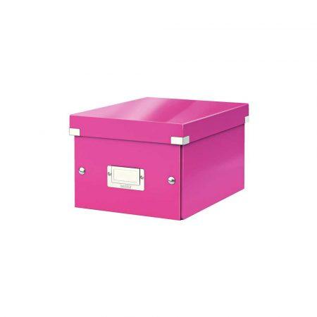 organizacja dokumentów 5 alibiuro.pl Pudełko do przechowywania Leitz Click Store WOW A5 różowy 85