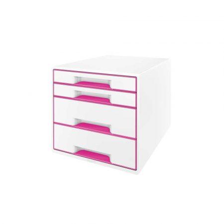 organizer na biurko 5 alibiuro.pl Pojemnik z szufladami Leitz WOW CUBE różowy 65