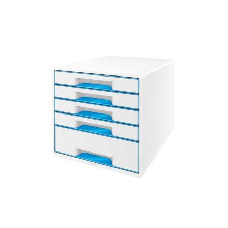 przybornik na biurko 5 alibiuro.pl Pojemnik z szufladami Leitz WOW CUBE niebieski 80