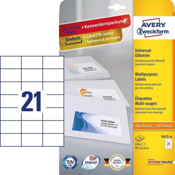 akcesoria biurowe 7 alibiuro.pl Zestaw etykiet uniwersalne Do nadruku AVERY Zweckform 3652 10 70mm x 42.3mm Papier kolor biay 6