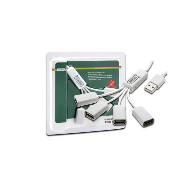 akcesoria komputerowe 7 alibiuro.pl Hub USB DIGITUS DA 70216 4x USB 2.0 kolor biay 74