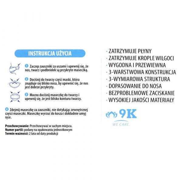 artykuły biurowe 7 alibiuro.pl Maseczki ochronne 3 warstw jednoraz Hygienika 10szt 21
