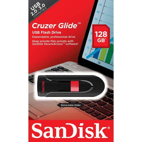 artykuły biurowe 7 alibiuro.pl Pendrive SanDisk CRUZER GLIDE SDCZ60 128G B35 128GB USB 2.0 kolor czarny 53