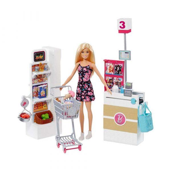 artykuły dla biura 7 alibiuro.pl Zestaw zabawek Barbie supermarket lalka MATTEL FRP01 Od 3 lat 66