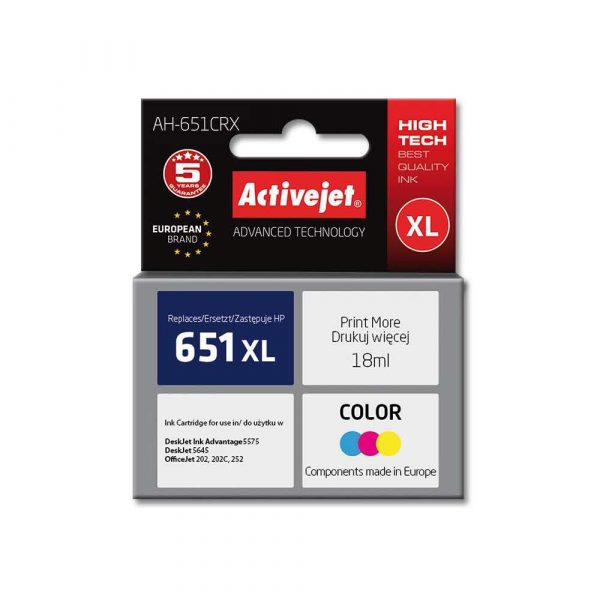 do drukarek HP 7 alibiuro.pl Tusz Activejet AH 651CRX zamiennik HP 651 C2P11AE Premium 18 ml kolor 52