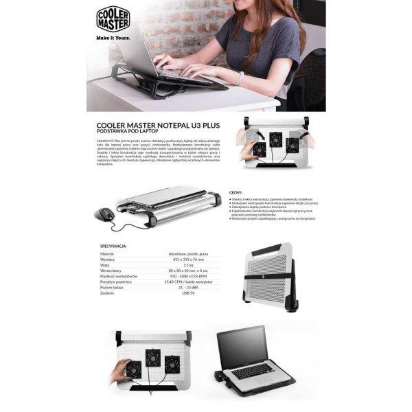 elektronika 7 alibiuro.pl Podstawka chodzca pod notebook Cooler Master Notepal U3 R9 NBC U3PK GP 19 cali 3 wentylatory 5