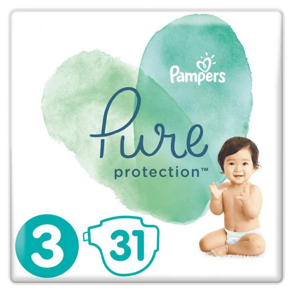 materiały biurowe 7 alibiuro.pl Pampers Pure Protect Pieluchy Rozmiar 3 6 10kg 31szt 36