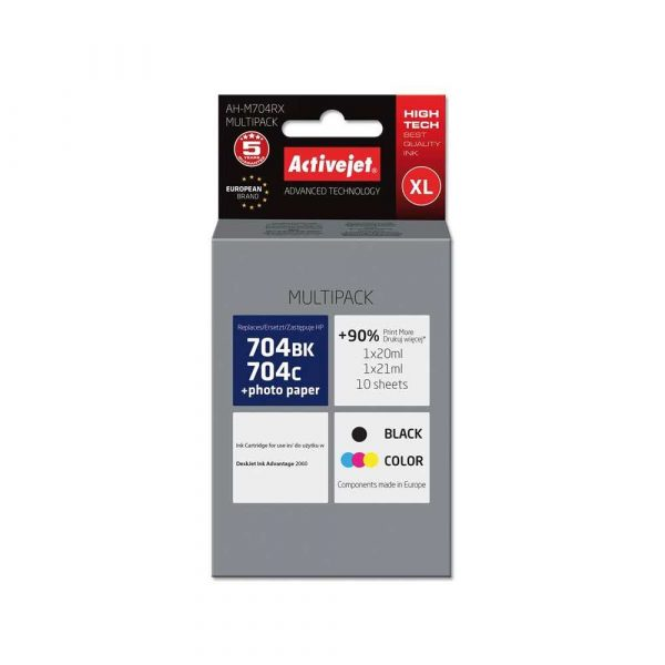 materiały eksploatacyjne 7 alibiuro.pl Tusz Activejet AH M704RX zamiennik HP 704 CN692AE CN693AE Premium 1 x 20 ml 1 x 21 ml czarny kolor 83