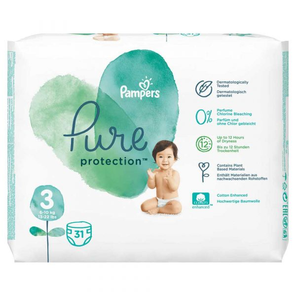 pieluchy 7 alibiuro.pl Pampers Pure Protect Pieluchy Rozmiar 3 6 10kg 31szt 65