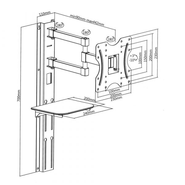 sprzęt AGD 7 alibiuro.pl Uchwyt cienny do telewizora Maclean MC 771 cienne 23 Inch 42 Inch max. 30kg 85