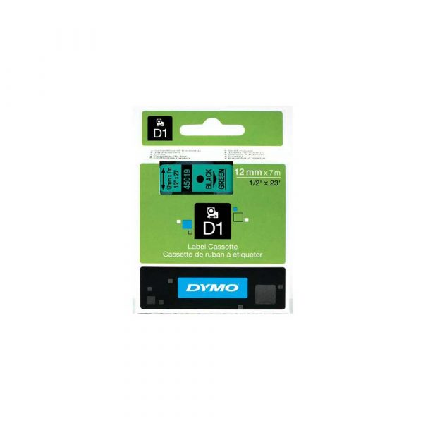 taśmy do drukarek etykiet 1 alibiuro.pl S0720590 Tama Dymo D1 12 mm black on green 45019 8