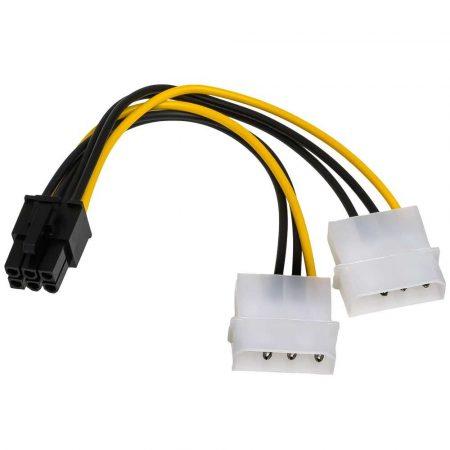 zaopatrzenie dla biura 7 alibiuro.pl Kabel Akyga AK CA 13 Molex 4 pin x 2 F PCI E 6 Pin M 0 15m wielokolorowy 60