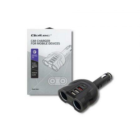 zaopatrzenie dla biura 7 alibiuro.pl QOLTEC ROZDZIELACZ SAMOCHODOWY GNIAZDA ZAPALNICZKI X2 52W USBX2 USB QC 3.0 USB C PD 27