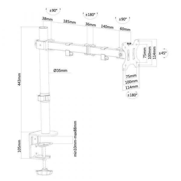 zaopatrzenie dla biura 7 alibiuro.pl Uchwyt biurkowy do monitora NEWSTAR FPMA D550BLACK biurkowy 10 Inch 32 Inch max. 8kg 84