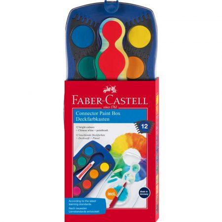 farby szkolne connector 12 kol.+pędzelek w niebieskiej kasetce faber castell alibiuro.pl 80