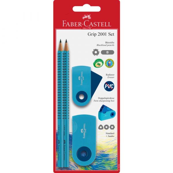 grip&sleeve set niebieski 2xołówek+gumka+temperówka faber castell alibiuro.pl 2