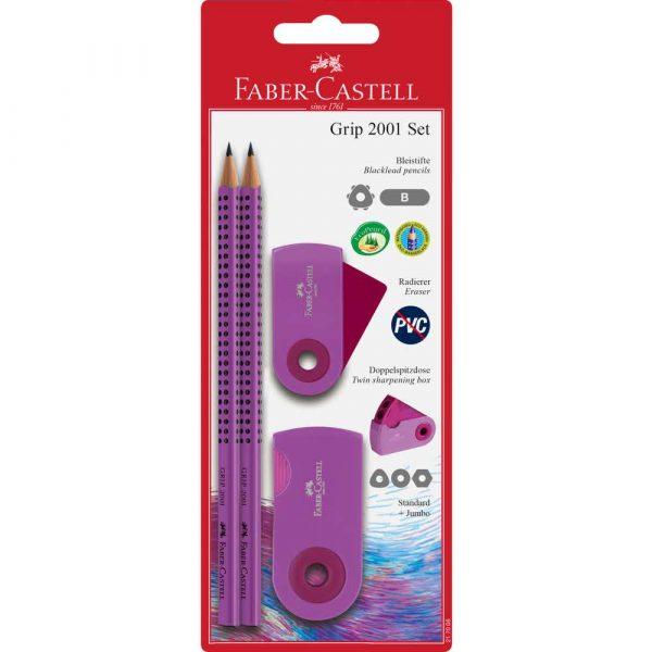 grip&sleeve set różowy 2xołówek+gumka+temperówka faber castell alibiuro.pl 98