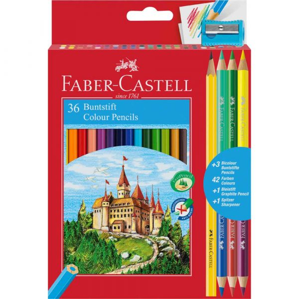kredki zamek 36 kol.+3 kredki dwustronne+ołówek+temperówka faber castell alibiuro.pl 39