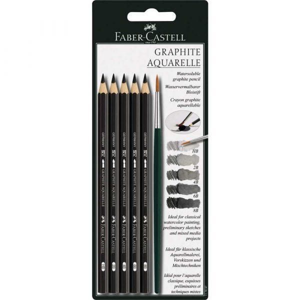 ołówek akwarelowy 5 szthb2b4b6b8b pędzelek blister faber castell alibiuro.pl 93