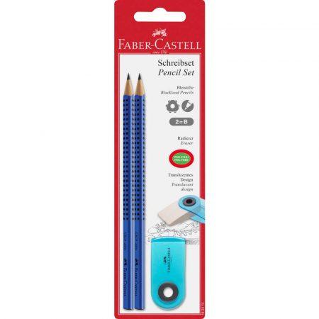 zestaw 2 ołówki grip+gumka sleeve mini transparentna faber castell alibiuro.pl 33