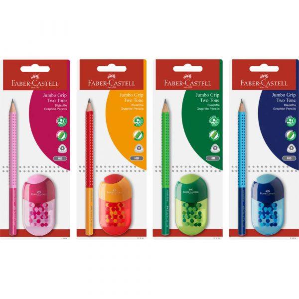 zestaw jumbo grip two tone ołówek+temperówka z gumką faber castell alibiuro.pl 55