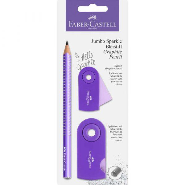 zestaw jumbo sparkle pearly&sleeve ołówek+temperówka+gumka fioletowy blister faber castell alibiuro.pl 87