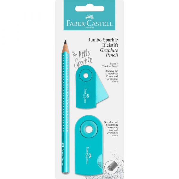 zestaw jumbo sparkle pearly&sleeve ołówek+temperówka+gumka turkusowy blister faber castell alibiuro.pl 27