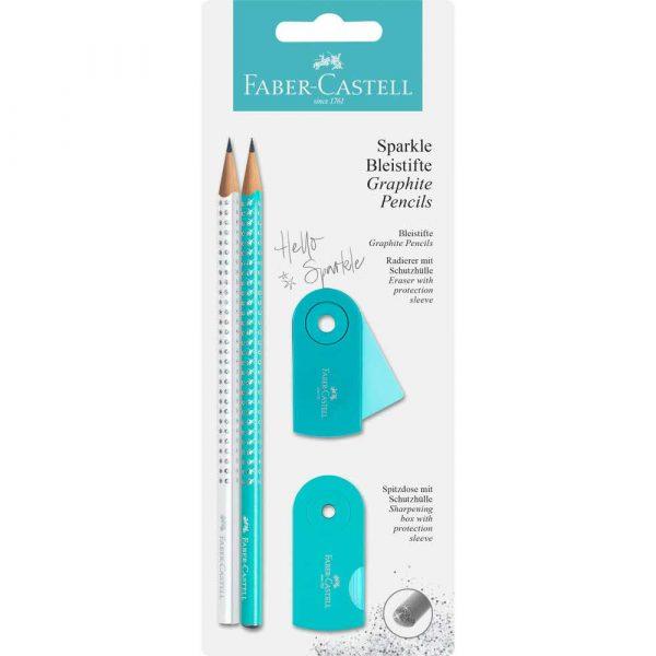 zestaw sparkle pearly&sleeve turkusowy biały 2xołówek+temperówka+gumka faber castell alibiuro.pl 24