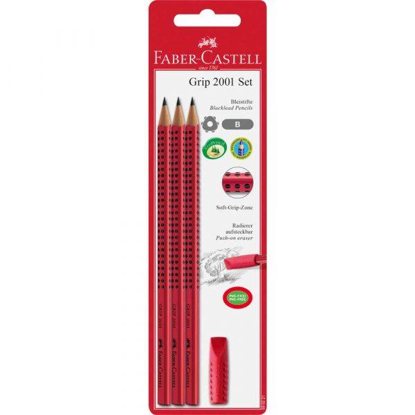 zestaw grip 2001 b 3x ołówek+gumka czerwony faber castell alibiuro.pl 32