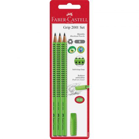 zestaw grip 2001 b 3x ołówek+gumka jasnozielony faber castell alibiuro.pl 92